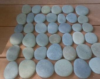 "40 Gray Smooth Flat Beach Stones 1/2"" - 2 1/2""  Painting,Crafts,Decor"