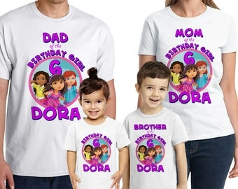 Dora and Friends Into the City Shirt Custom Name and Age Personalized Dora and Friends Birthday Party Shirt