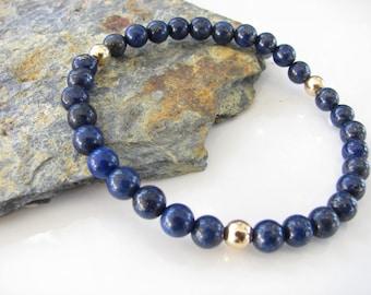 Lapis Lazuli and Gold Stretch Gemstone Bracelet - Yoga Jewelry, Meditation, Healing - Stackable Bracelets - Ready to Ship