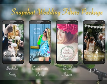 4 WEDDING SNAPCHAT FILTERS: wedding, bridal shower, bachelorette, bachelor parties - all customized with your names and details!!