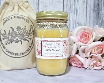 Organic Beeswax Candle - Organic Candles - Beeswax Candle - Mason Jar Candles - Natural Candles - Container Candles - Air Purifier