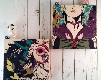 Vogue Sailor Guardian and Princess Mononoke Wood Block Art || Sustainable Wood || Ready to Hang Gift ||