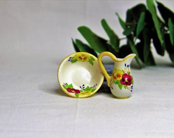 Dollhouse Miniature Pitcher and Bowl, Semi Matte Finish Porcelain, Hand Painted with Pancy Design, Gold Trim, Vintage Style