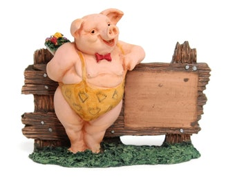 Small Garden Statue, Figurine and Home Decor -Funny Sexy Garden Pig Figurines  3.5''Tall. Also Great for Easy DIY Desktop Photo Holder.