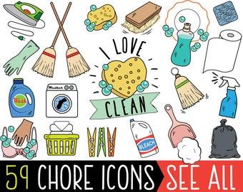 Chore Clipart, JUMBO Bundle, cleaning clipart, printable chore stickers, chore planner stickers, chore bullet journal, chore clip art