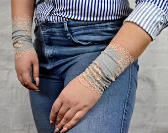 Lace Bracelet Jeans Color Wristband Lace Wrist Cuff Lace Jewelry Wrist Tattoo Cover up Stretch Bracelet Lace Arm Band Lace Cuff w4004