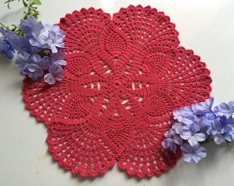 Rose doily, Pink doily, Crochet doilies, Crochet lace doily, table topper, table decor, home decor, crochet placemat, wedding doily