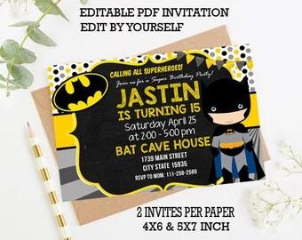 Batman Invitation Instant Download, Batman Invitation Digital Download, Batman Invitation Download, Batman PDF Editable, Batman Editable