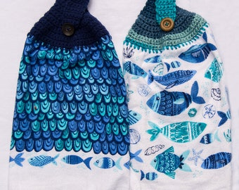 Blue Fish Kitchen Towel - Crochet Top