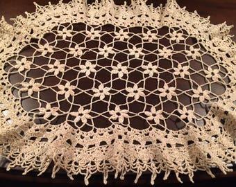 Vintage Doily Frilly Hand Made Crocheted Doily Dresser Scarf Vanity Doily Vintage Home Decor