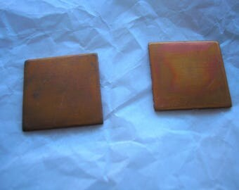 "Copper Squares 3/4"", Metal Blanks,  Pack of 2, Copper Shape for Enameling, Copper Enameling Supply, Metal Stamping, Jewelry Making, Metals"