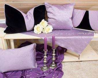 Elegant pillow/Cushion cover 60 x 40 velvet black lilac