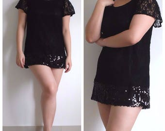 Little black dress, Black lace dress, lace and sequin dress, Vintage japanese, Mini dress, Short dress, babydoll dress, Size M