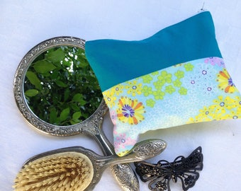 Floral and Teal Zipper Pouch