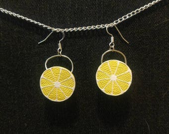 Lemon Earrings 3D