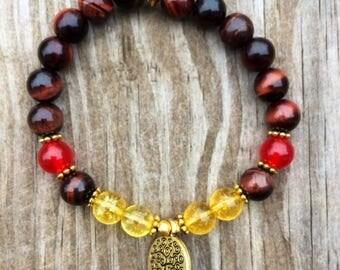 Tiger's eye and citrine mala bracelet, yoga bracelet, Buddhist mala