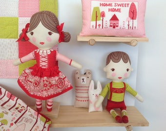 Hansel and Gretel Fairytale Fabric Dolls and Accessories