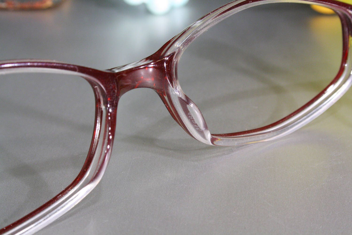 Unworn OLIVER Transparent Ruby Red, Clear and Silver 1990\'s Italian ...