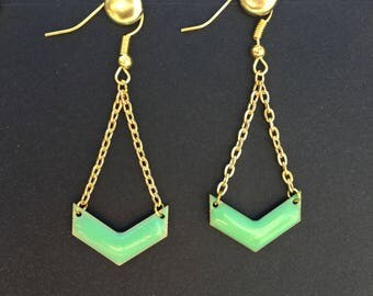 Earrings green and gold by lesbijouxdelilie