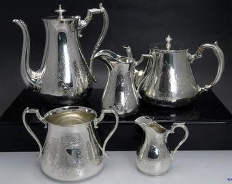 Late 1800's-Early 1900's James Dixon English Silver Plate 5 Pc Tea & Coffee Set