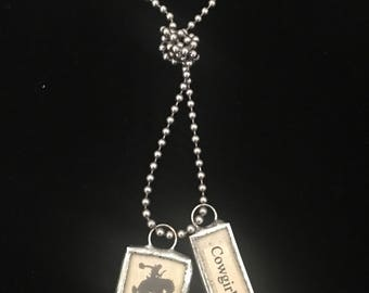 """Cowgirls Rock & Bronko soldered glass charms w/36"""" ball chain necklace"""