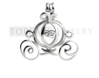 Carriage Cage 925 Sterling Silver Love Wish Pearl Pendant CDSWP27 (2 PCS)