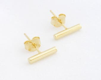 "Stud earrings ""Bar"" 925 Sterling Silver gold-plated"