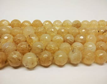 Faceted  Beads Yellow Quartz  Beads Faceted Gemstone Mala Beads DIY Jewelry Beads Jewelry Supplies Beading Bracelet Beads Earring Beads