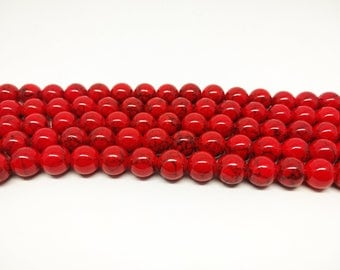 Red Beads Howlite Beads for Jewelry Making Red Howlite Mala Beads for Bracelets Necklace Beads Jewelry Supplies Beading Craft Supplies