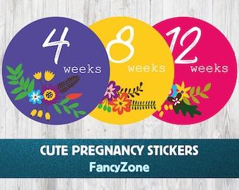Flower Weekly Belly Bump Sticker, Flowers Pregnancy Stickers, Maternity Stickers, Pregnancy Belly Stickers, Pregnancy Announcement, 40 weeks