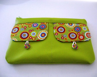 Lime green leatherette pouch