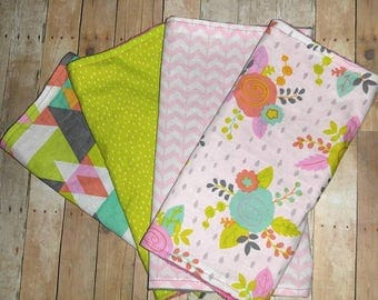 Baby Girl Burp Cloths\ Baby Burp Cloth Set/ Burp Cloths/ Baby Girl/ Newborn Gift/ Girl Burp Cloths/ Baby Girl Gift/ Burp Cloth Set/ Burp Rag