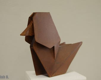 Duck origami patinated steel