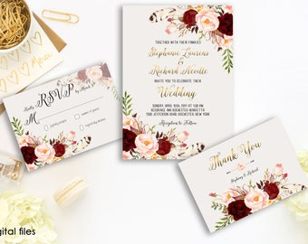 Wedding Invitation Suite Printable Floral Digital Wedding Marsala Burgundy Watercolor Gold letters Invitation Bohemian Wedding Invite WS-012