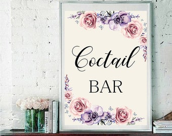 Coctail bar Wedding Sign Digital Floral Lilac Violet Purple Wedding Boho Printable Bridal Decor Gifts Poster Sign 5x7 and 8x10 - WS-033