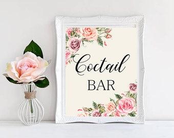 Coctail bar Wedding Sign Digital Floral Blush Pink Peach Wedding Boho Printable Bridal Decor Gifts Poster Sign 5x7 and 8x10 - WS-032