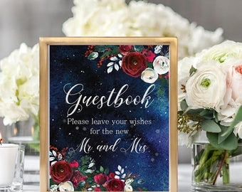 Guestbook Wedding Sign Christmas Winter New Year Snow White Red Burgundy Floral Wedding Bridal Printable Decor Gifts Poster Sign 8x10 WS-050