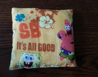 Boo Boo Packs, Ouch Pouch, Reuseable Hot or Cold Packs, Kids Ice Pack, Hand Warmers, Heating Pad, Set of 2, Sponge Bob Fabric !