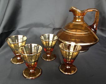 Amber & gold glass decanter set