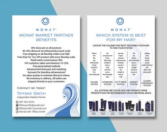Monat Market Partner Benefits, Monat Systems, Custom Monat Hair Care Card, Fast Free Personalization, Monat Business Cards MN04