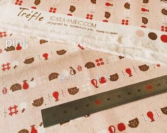 japanese fabric kokka animal world - hedgehog - pink