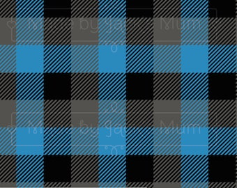 Blue/Grey/Black Plaid French Terry (280gsm, 94/6 Cotton/Elastane) *UK*