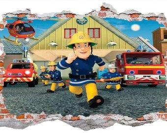 Fireman Sam Smashed Wall Sticker Wall Decals