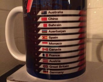 Formula 1. 2018 Season Dates on a Mug