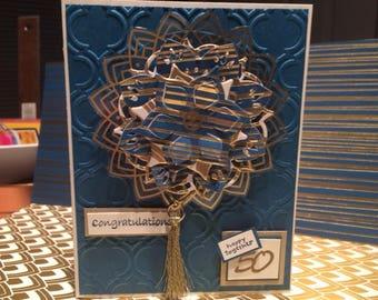 50th Wedding Anniversary Card, Eastern Palace Design, congratulations card