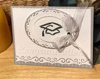 Graduation card; Silver and white graduation card, Graduation card for her