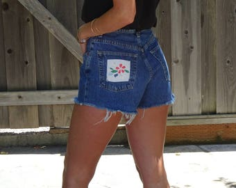 High Waist Gap Frayed Jean Shorts with Applique Floral Patches