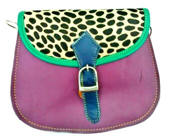 Brittney: Upcycled High Quality Hand-made Leather Colourful Shoulder Bag with Animal Print