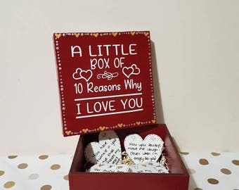 10 Reasons why I love you Anniversary Gifts for Him Wedding Anniversary Gifts Wooden Box 1st Anniversary Gifts  I love you Quotes