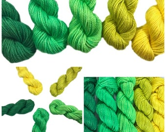 Hand Dyed Yarn - Yellow Green Gradient Kit - Semi Solids - Tonals - 3 Ply - Plant Based - DK Light Worsted - Bamboo Cotton - Soft Baby Yarn